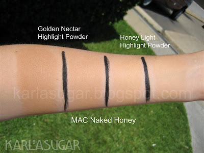 MAC, Naked Honey, swatches, Honey Light, Golden Nectar