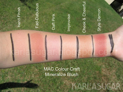 MAC, Colour Craft, Color Craft, Mineralize, blush, Hand-finish, Fad-dabulous, Daft Pink, Improvise, Cheek &amp; Cheerful, Style Demon, swatches, Cheek and Cheerful, Fab-dabulous