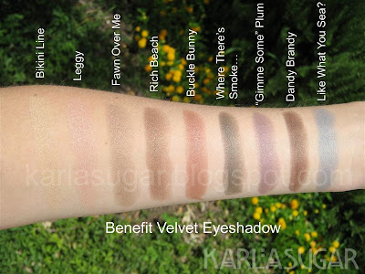Benefit, velvet, eyeshadow, shadow, swatches, Bikini Line, Leggy, Fawn Over Me, Rich Beach, Buckle Bunny, Where There's Smoke, Gimme Some Plum, Dandy Brandy, Like What You Sea