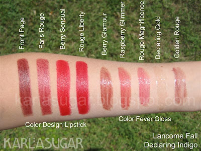 Lancome, Declaring Indigo, swatches, color design, color fever, lipstick, lipgloss, Front Page, Paris Rouge, Berry Sensual, Rouge Liberty, Berry Glamour, Raspberry Glimmer, Rouge Magnificence, Declaring Gold, Golden Rouge