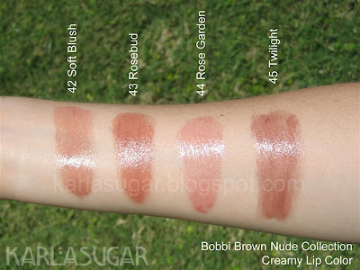 Bobbi Brown, swatches, Creamy Lip Color, Soft Blush, Rosebud, Rose Garden, Twilight