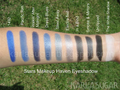 Stars Makeup Haven, SMH, eyeshadow, swatches, 1492, Pacific Rim, Walking After Midnight, Walkin' After Midnight, Dress Blues, Steel Away, Electrafied, Electra-fied, In a Bind, Smoke and Mirrors, Smoke & Mirrors, Unzipped, The White Shadow