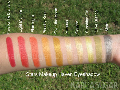 Stars Makeup Haven, SMH, eyeshadow, swatches, Flare for the Dramatic, Flair for the Dramatic, Light my Fire, Flamingo, Flaming-o, Peachy Keen, Over the Moon, Mimosa, Cougar, Sunshine Girl, Olive Branch, Metro