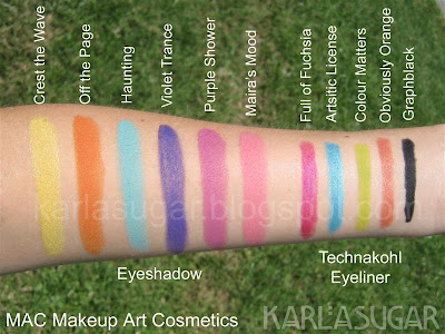 MAC, Makeup Art Cosmetics, swatches, eyeshadow, eyeliner, Crest the Wave, Off the Page, Haunting, Violet Trance, Purple Shower, Maira's Mood, Maira's Magic, Full of Fuchsia, Full of Fuschia, Artistic License, Artistic Licence, Colour Matters, Color Matters, Obviously Orange, Graphblack
