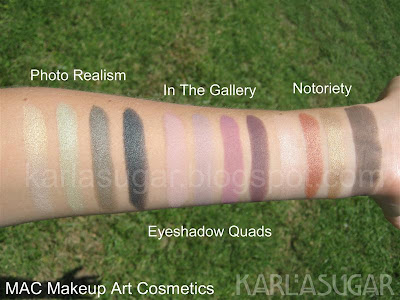 MAC, Makeup Art Cosmetics, swatches, eyeshadow, quad, Photorealism, Photo Realism, In the Gallery, Notoriety