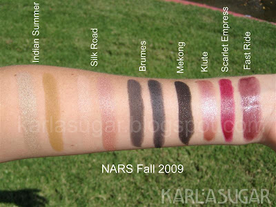 NARS, fall, swatches, Fast Ride, Scarlet Empress, Scarlette Empress, Klute, Mekong, Brumes, Silk Road, Indian Summer, eyeshadow, lipstick
