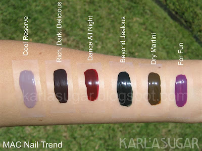 MAC, Nail Trend, Jin Soon Choi, Cool Reserve, Rich, Dark, Delicious, Dance All Night, Beyond Jealous, Dry Martini, For Fun