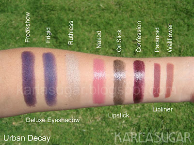 Urban Decay, swatches, Deluxe Eyeshadow, Ruthless, Frigid, Freakshow, lipstick, Naked, Oil Slick, Confession, lip liner, Paranoid, Wallflower