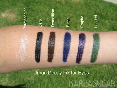 Urban Decay, Ink for Eyes, cream liner, Pyrotechnics, Zero, Demolition, Binge, Empire, Loaded