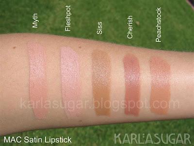 MAC, Satin, lipstick, swatches, Myth, Fleshpot, Siss, Cherish, Peachstock