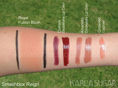 Smashbox, Reign, swatches, Regal, Currant, Amaretto, Crowned