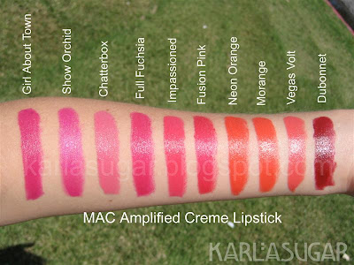 MAC, lipstick, Amplified Creme, Girl About Town, Show Orchid, Chatterbox, Full Fuchsia, Impassioned, Fusion Pink, Neon Orange, Morange, Vegas Volt, Dubonnet, swatches