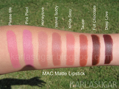 MAC, Matte, lipstick, swatches, Please Me, Pink Plaid, Honeylove, Velvet Teddy, Kinda Sexy, Taupe, Full Chocolate, Deep Love