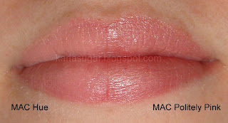 MAC, Politely Pink, Hue, swatches