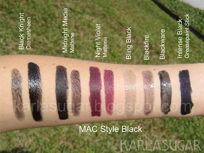 MAC, Style Black, swatches, Black Knight, Midnight Media, Night Violet, Glimmerglass, Bling Black, Blackfire, Blackware, Greasepaint Stick, Intense Black