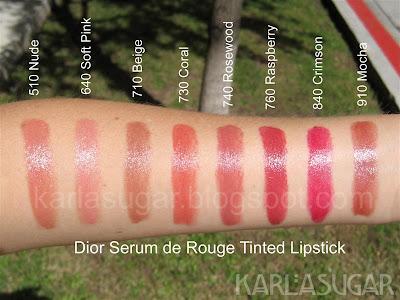 Dior, Serum de Rouge, tinted lipstick, swatches, Nude, Soft Pink, Beige, Coral, Rosewood, Raspberry, Crimson, Mocha, KarlaSugar, Karla Sugar