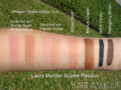 Laura Mercier, Scarlet Passion, swatches, Whisper, Cheek Color Duo, eyeshadow, Gilded Gold, Bronze Copper, Black Ebony, Mahogany Brown, cake liner