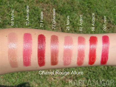 Chanel, Rouge Allure, lipstick, swatches, Mythic, Adorable, Fatale, Orientale, Naive, Ardent, Audace, Lover
