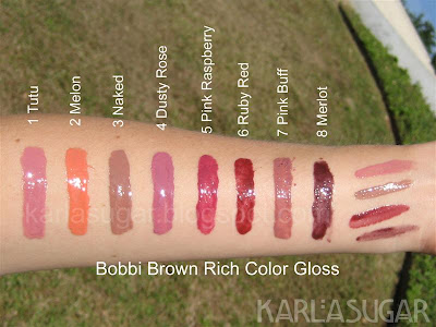 Bobbi Brown, Rich Color Gloss, swatches, Tutu, Melon, Naked, Dusty Rose, Pink Raspberry, Ruby Red, Pink Buff, Merlot