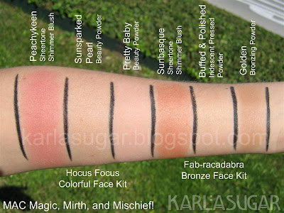 MAC, Magic, Mirth, Mischief, swatches, face kit, Peachykeen, Sunsparked Pearl, Pretty Baby, Fab-racadabra, Sunbasque, Buffed and Polished, Golden