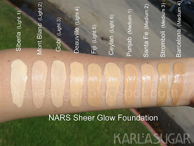 NARS, Immaculate Complexion, Sheer Glow, Sheer Matte, foundation, swatches, Siberia, Mont Blanc, Gobi, Deauville, Fiji, Ceylan, Punjab, Santa Fe, Stromboli, Barcelona