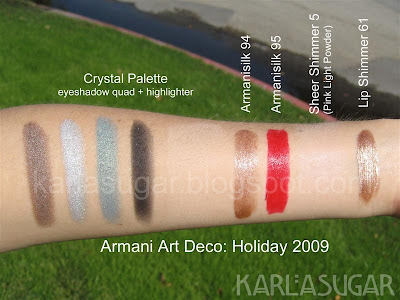 Armani, holiday, 2009, Art Deco, Crystal Palette, swatches, Sheer Shimmer 5, armanisilk 94, 95, lip shimmer 61