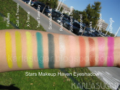 Stars Makeup Haven, SMH, eyeshadow, swatches, Fireflies, Call a Treuse, X-Treme, Teal Tuesday, Scandalous, Rush Hour, Southern Belle, Bombshell, Sparks, Cat