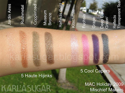 MAC, holiday, 2009, Magic, Mirth, Mischief, Mischief Makers, swatches, Haute Hijinks, Jardin Aires, Rushmetal, Copperized, Museum Bronze, Reflects Gold, Cool Capers, Kitschmas, Fuchsia, Grape, Deep Blue Green, Reflects Transparent Teal