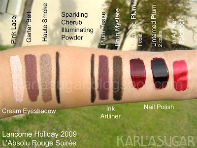 Lancome, holiday, 2009, L'Absolu Rouge Soiree, swatches, Color Design Sensational Effects Cream Eye Shadow Long Wear, Pink Lace, Garter Belt, Haute Smoke, Sparkling Cherub Sheer Warming Illuminating Powder, Ink Artliner, Plum Tease, Brun Mystere, In All Her Splendor, Untamed Plum