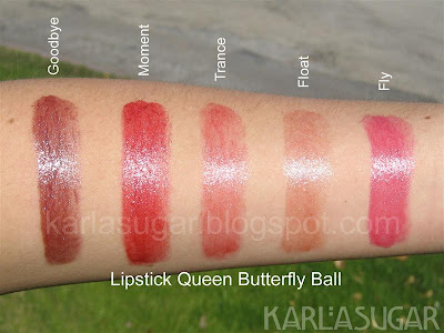 Lipstick Queen, Butterfly Ball, lipstick, swatches, Goodbye, Moment, Trance, Float, Fly