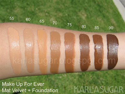 make up for ever mat velvet foundation swatches