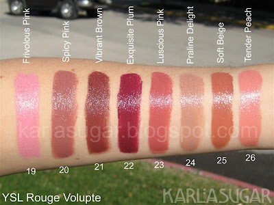 YSL, Yves Saint Laurent, Rouge Volupte, swatches, Frivolous Pink, Spicy Pink, Vibrant Brown, Exquisite Plum, Luscious Pink, Praline Delight, Soft Beige, Tender Peach