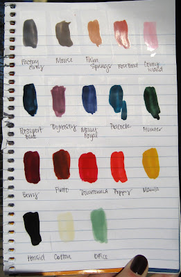 American Apparel, Nail Polish, swatches, Factory Grey, Factory Gray, Mouse, Palm Springs, Rose Bowl, Coney Island, Passport Blue, Dynasty, Mount Royal, Peacock, Hunter, Berry, Pinto, Downtown LA, Poppy, Manila, Hassid, Cotton, Office