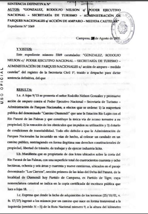 Sentencia Juez Federal Faggionatto Marquez Año 2005