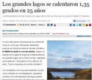Los grandes lagos se calentaron 1,35 grados en 25 años.