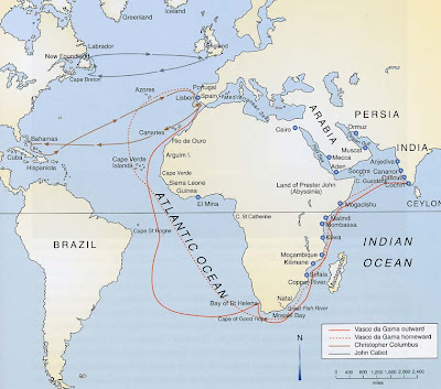 Map of his Voyage 1497-1498