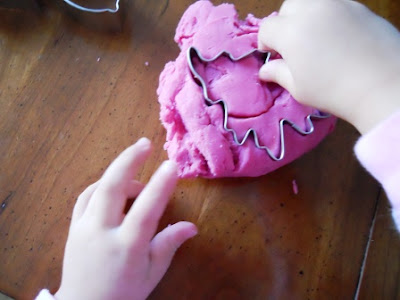 cranberry play dough, home made play dough