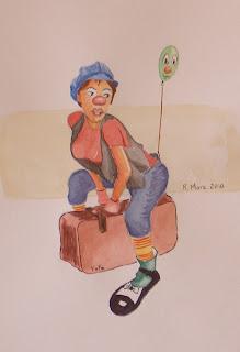 aquarel·la, acuarela, watercolor, aquarelle, pallasso, pallassa, payaso, payasa, clown, risioterapia, rmora, roger mora