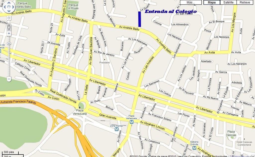 Mapa De Acceso Al Colegio San Jose De_01 on Colinas De Bello Monte Caracas Venezuela