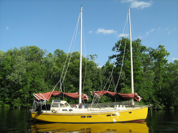 Fiberglass over cold molded wood 39' sailboat, designed and built by Mike Lyons.