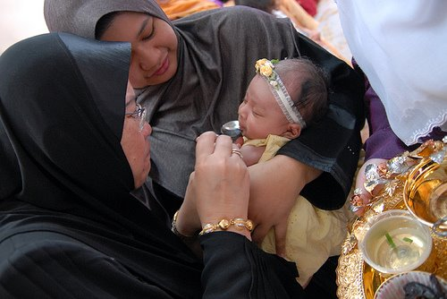 wawa n baby zara during akikah ceremony