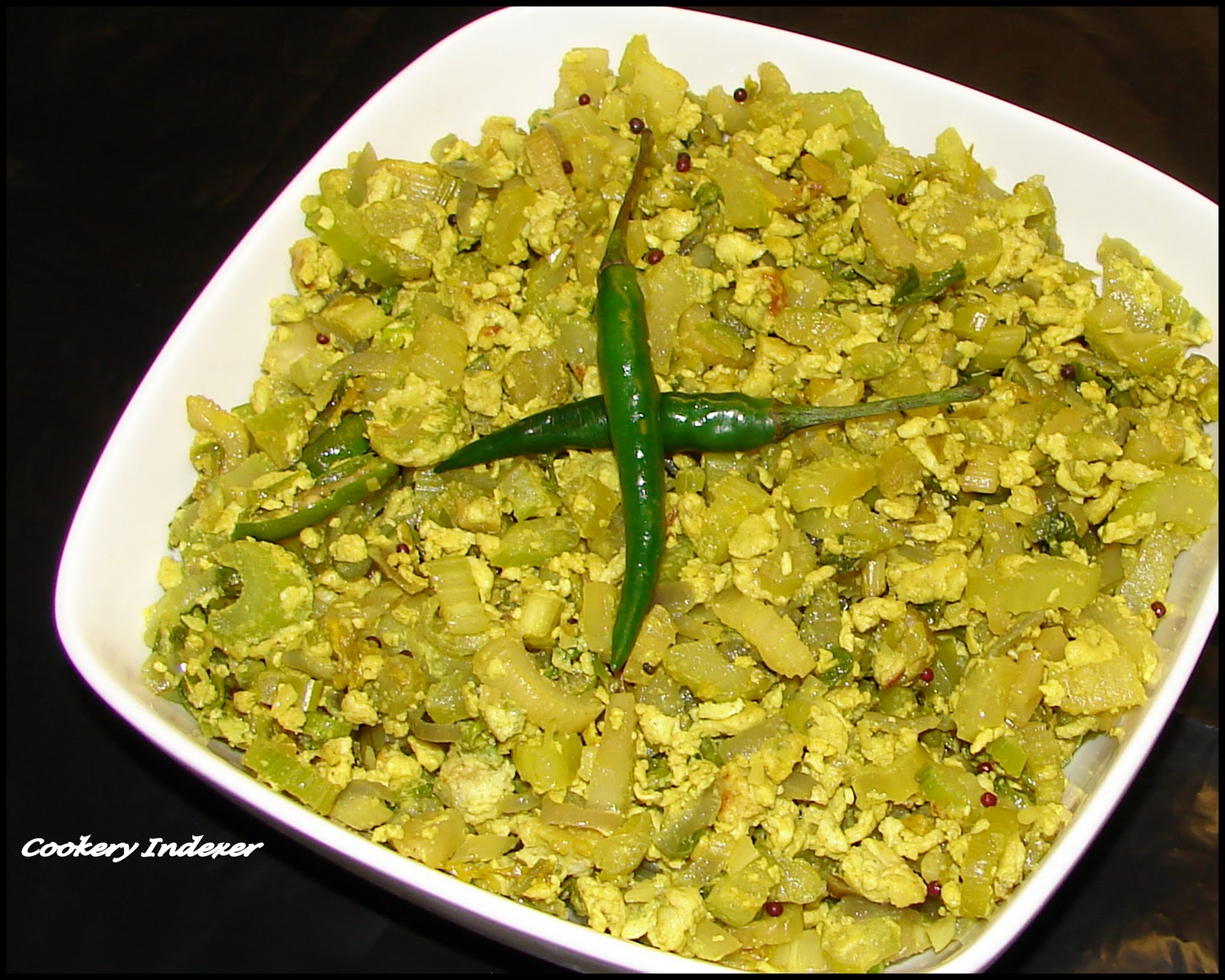 Regional Indian Cuisine Blogroll !: Celery Egg Stir-fry (Poriyal)