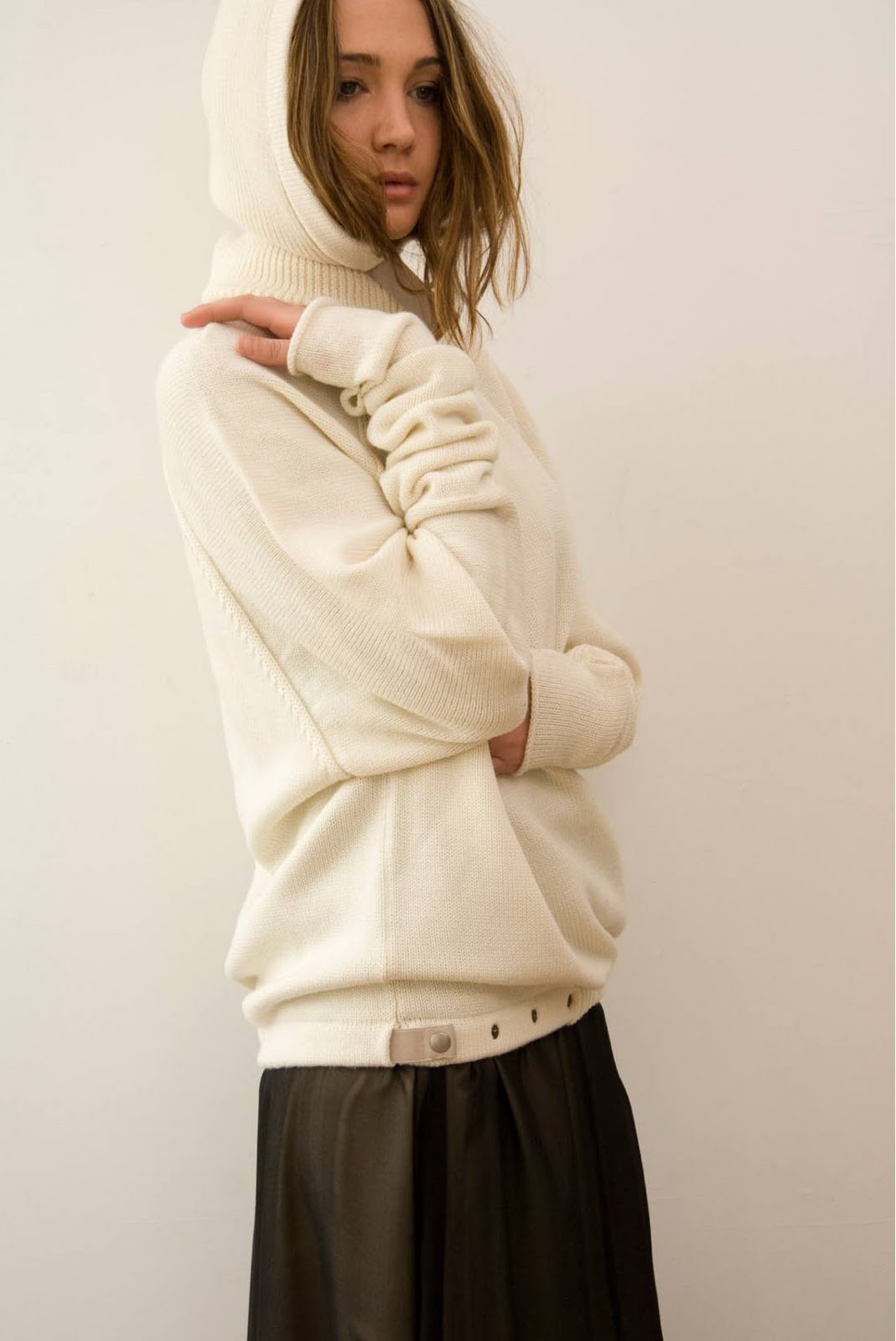 gail travis white hooded sweater