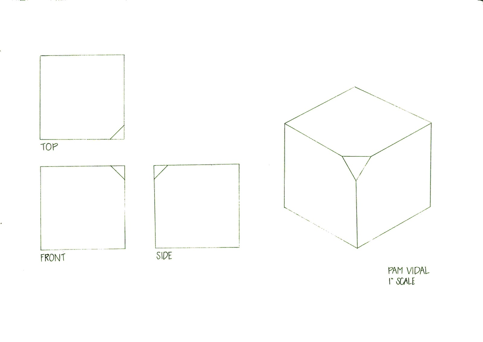 ... isometric view, and then somehow distort it. I distorted my cube by