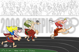 >Cartoon Beruma – New Olympic Game in China welcomes all global sports men, to enjoy the ride on the back of the monks …