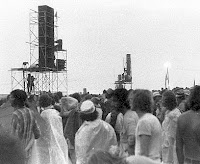 1973 Watkins Glen Summer Jam - speaker towers in rain