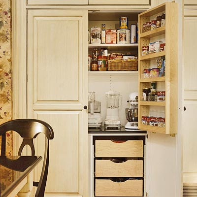 and helps the storage space blend in with the kitchen cabinetry