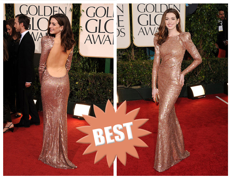 anne hathaway golden globes dress back. anne hathaway 2011 globes