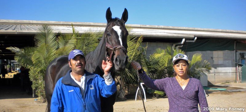 Zenyatta with groom Mario Espinoza