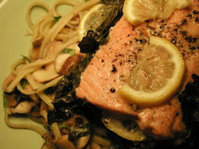 ... Linguine with Lemon, Garlic and Thyme Mushrooms and Salmon and Chard